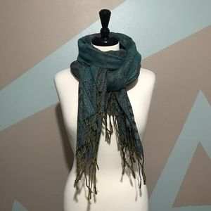 Accessories - Teal Turquoise Paisley Scarf Shawl Wrap